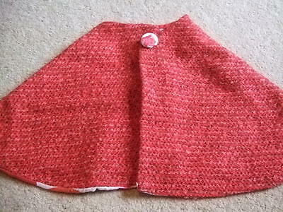 Handmade vintage retro  reversible red tweed spot lining childs cape 4 5 6