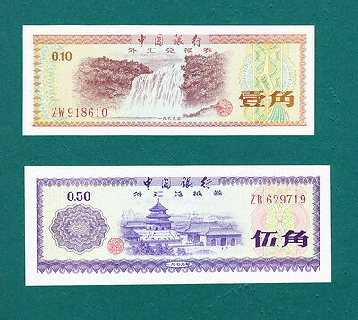 China 1979  Foreigh Exchange Certificate 10 Cents + 50 Cents - Both GEM UNC