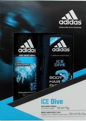 Adidas Ice Drive Gift Set 150Ml Deodorant Spray + 250Ml 3 In 1 Body Hair Face