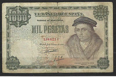 Dificil Billete De 1000 Pesetas De 1946 Vives