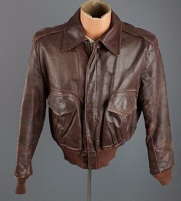 Vtg 40s 50s Mens De Long Horsehide Brown Leather Bomber Jacket Sz M #1978 Coat
