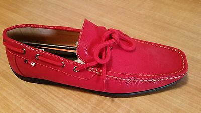 Lot (N) Mens 10 M Aruba-2 Red / Tan Boat Shoes By Phat Classic Slip-On New