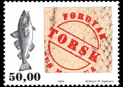Faroe Islands MNH stamp with real fish skin, limited supply