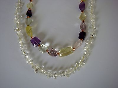 Amethyst,  Lemon & Pink Quartz  faceted semi precious gemstones. 2 strand bundle