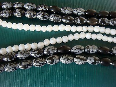 Snowflake Obsidian  & white Frosted Quartz . Three strand bundle