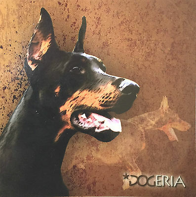 Dobermann Magnetic Picture / Coaster  Large 50 mm X 50mm Size