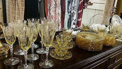 Antique Fostoria Trojan etched Topaz yellow cup and saucer EUC