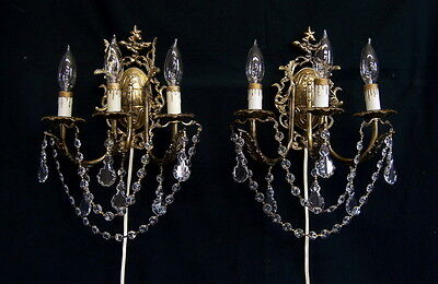 Large Pair of Vintage Italian Brass Wall Sconces with Prisms Hollywood Regency