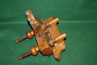 "Antique Handled Screw Arm Plow Plane 3/8"" London Inscribed Iron Cutter INV#41"