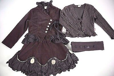 JOTTUM Purple Jacket Cardigan Skirt Tights 4Pc Outfit Set 5 6 Years