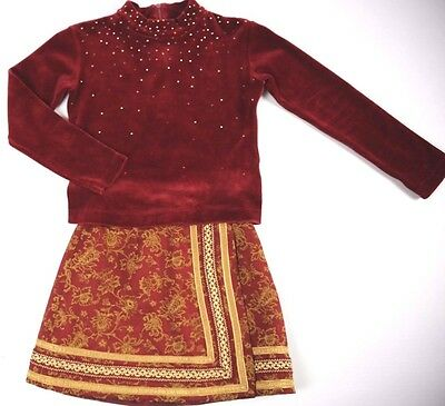 I PINCO PALLINO Red Gold Velvet Top Brocade Skirt 2Pc Outfit Set 5 6 Year £420