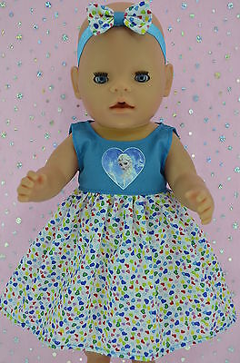 """Play n Wear Doll Clothes To Fit 17"""" Baby Born TURQUOISE/HART DRESS~HEADBAND"""
