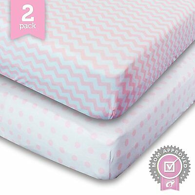 Ziggy Baby Crib Sheet Fitted Jersey Cotton, Dot, Pink/White, 2 Pack