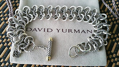 David Yurman *Rare* 18k Gold & Sterling Silver Double Cable link Bracelet -Mint!