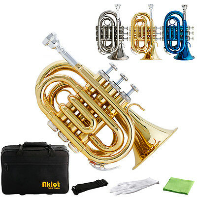 Aklot Bb Mini Pocket Trumpet 7C Brass Body with Case Blue Gold Nickel Plated