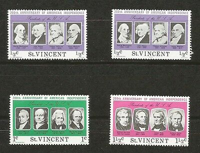 1975 St. Vincent 200th Anniversary of American Independence Stamps MNH