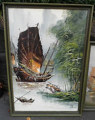 Pair Framed Oil painting Junks on River - p/up Frankston South or post