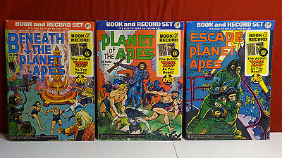 Planet Of The Apes POTA Book & Record Lot by Power 1974 Beneath Escape 45 Golden