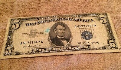 Old 1953-A  $5 Dollar Bill US Silver Certificate  Off Center