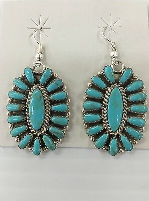 Native American Sterling Silver Hand Made Turquoise Cluster Dangle Earrings