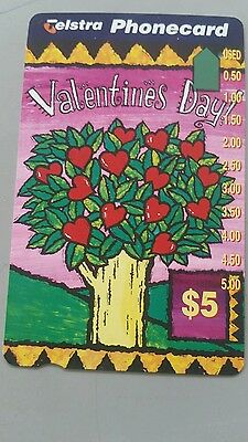 $5 1hole phonecard  Valentines day prefix 1073