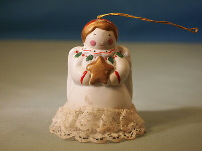 Antique Angel with Real Lace on Robe  Porcelain  Bell/Ornament