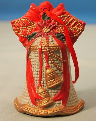 Vintage Beautiful Old fashioned Christmas Bell with Ribbbons  Porcelain  Bell