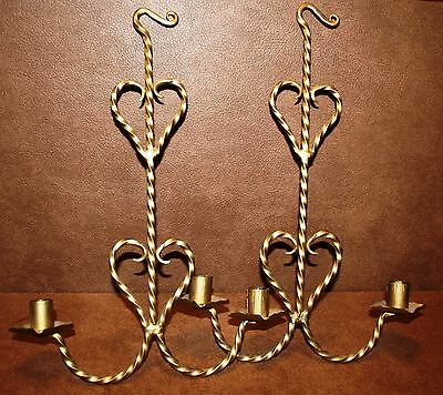 PAIR WROUGHT IRON (painted BRASS) HANGING SCONCES CANDLE HOLDERS WALL DECOR