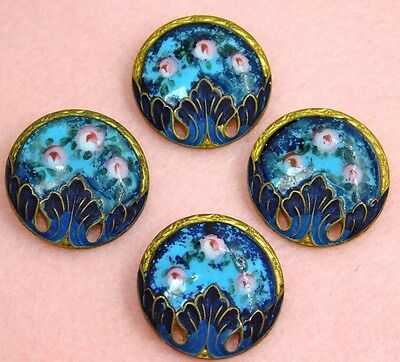 ANTIQUE Enamel BUTTONS VICTORIAN ROSES Turquoise DARK Blue Matching Set