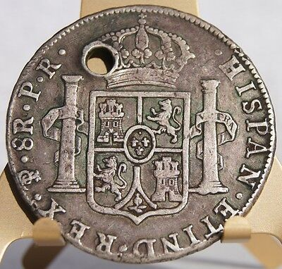 1784 PTS-PR Bolivian 8 Reales World Silver Coin - Carolus III - Holed