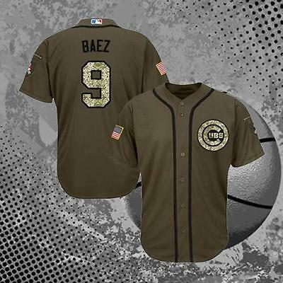 Javier Baez Chicago Cubs #9 Salute To Service Men's Baseball Jersey