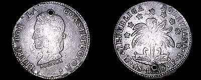 1859-PTS FJ Bolivian 4 Soles World Silver Coin - Bolivia - Holed