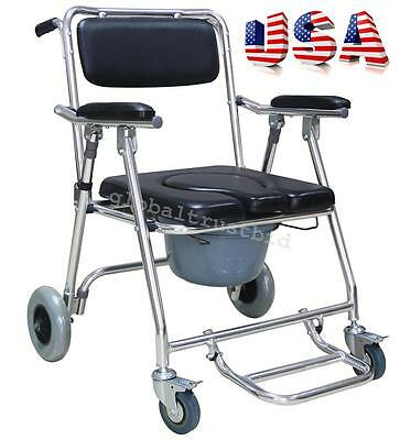 Detachable Commode Chair 4 Brakes Wheels & Footrests Wheelchair Toilet Bedside