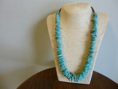 Large Graduating Turquoise Slice Nugget Bead Necklace