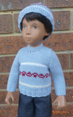 Gregor's Sky Blue Knitted Sweater With Matching Beanie