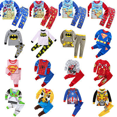 Pokemon Superhero Kids Toddler Boys Pajamas Nightwear Pjs Sleepwear Clothes Set