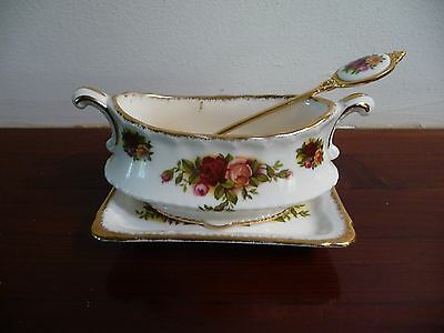 Royal Albert  OLD COUNTRY ROSES ~RARE MUSTARD POT STAND AND SPOON~ ONE ONLY