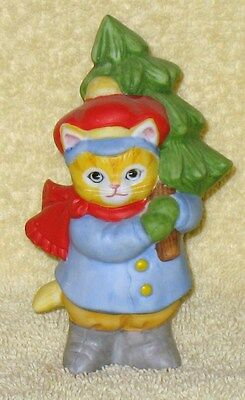 Rare Vintage Kitty Cucumber Jb Buster Holding Christmas Tree