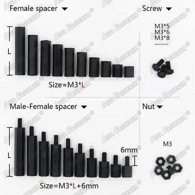 20/50/100X Black Plastic Nylon M3 Hex Column Standoff Spacer Phillips Screws Nut