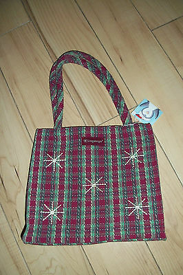 Longaberger Tote Bag Red and Green Plaid with Snowflakes