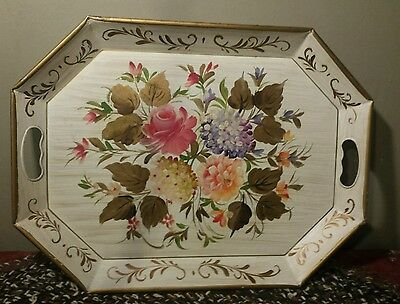 Vintage Large Toleware Floral Flowers Hand Painted Metal Tray E.T. Nash Co