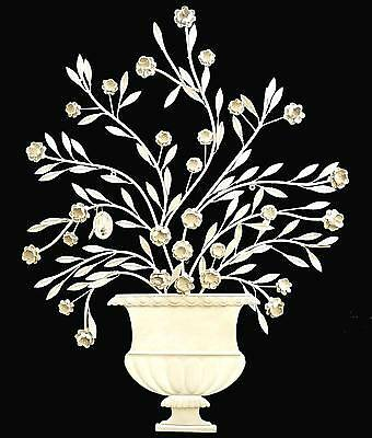 style ancienne applique de decoration fronton pot bouquet de fleur en metal fer