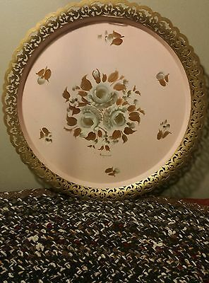 Vintage ROUND Toleware Floral Flowers Hand Painted Metal Tray E.T. Nash Co