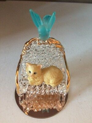 Small Vintage Ornament Cat on Glass Chair With Bird