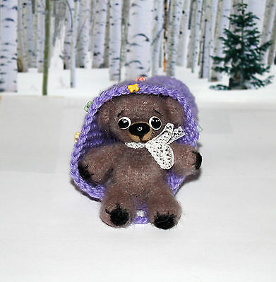 Cute Little Bear with Huge Hat Hand Knitted Mohair Doll Toy