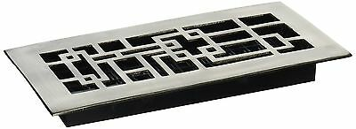 Decor Grates AB410-NKL 4-Inch by 10-Inch Abstract Floor Register, Solid Brass wi