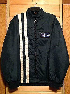 Vintage Ford Racing jacket 70s nylon stripe faux fur lining Dark Blue sz M/L