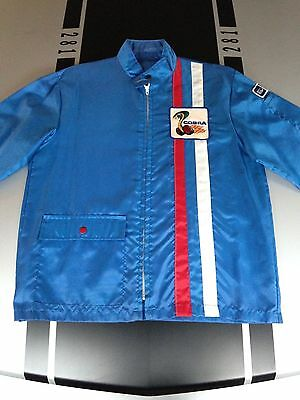 Vintage Racing Jacket 60s 70s Ford Cobra Shelby Nylon windbreaker Rare Blue sz M