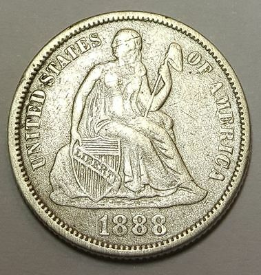 1888 VF-XF US Seated Liberty Dime Antique U.S. Silver 10 Cent Currency