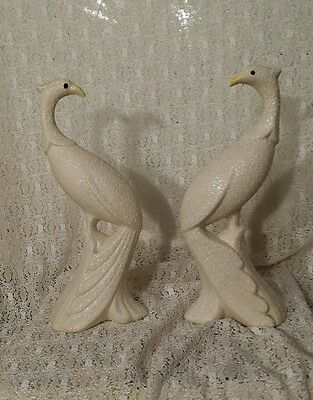 Vintage Mid Century Modern Bisque Porcelain Peacock Figurines Statues Set of 2